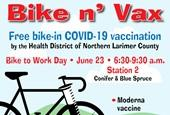 Illustration of bike and syringe with information on vaccinations