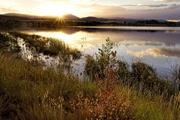 rural lake at sunset