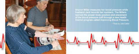 Sharon gets her blood pressure tested