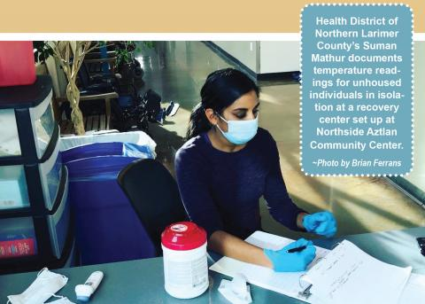 Health District's Suman Mayhur documents temperature readings