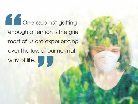 sad masked woman with grief quote